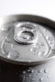 Macro of a can of soda. SHallow focus macro of a can of soda with dew from ice royalty free stock photo