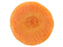 Macro of a carrot slice. Isolated over white Stock Images