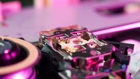 Macro of cd-rom laser head 02 stock video footage