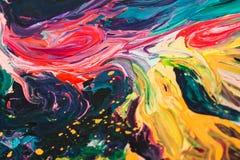 Macro cercana para arriba de diversa pintura de aceite del color acrílico colorido Concepto del arte moderno imagen de archivo