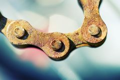 Macro Chain Bokeh Cross Processed. Macro Rusty Chain Bokeh Cross Processed Stock Photo