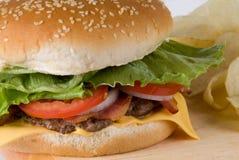 Macro Cheeseburger. Close up of a cheeseburger and chips Stock Images