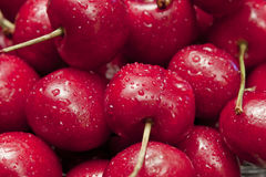 Macro of Cherries. Close-up of fresh, washed cherries in a bowl Stock Photo