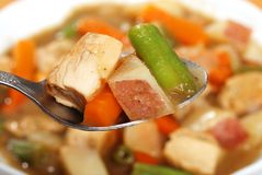 Macro Chicken Stew On A Spoon Royalty Free Stock Photo