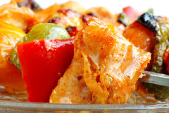Macro of Chicken tikka and capsicum Royalty Free Stock Photography