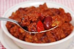 Macro chili on a spoon Royalty Free Stock Photo