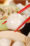 Macro chinese dumpling with chopsticks Royalty Free Stock Photos