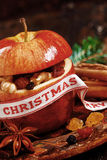 Macro Christmas Apple with Elements Inside Stock Images