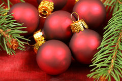 Macro of Christmas baubles group Royalty Free Stock Image