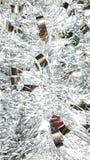 Macro christmas tinsel. Shiny decor decoration holiday glitter ribbons festive pretty close up Stock Photography