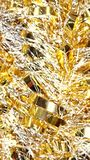 Macro christmas tinsel. Shiny decor decoration holiday glitter ribbons festive pretty close up Royalty Free Stock Images