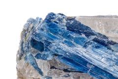 Macro cianite di pietra minerale un fondo bianco fotografia stock libera da diritti