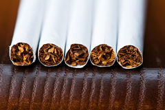 Macro of cigarettes lying Royalty Free Stock Image