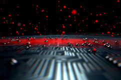 Macro Circuit Board Infection Royalty Free Stock Images