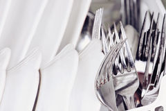Macro of Clean Dishes Royalty Free Stock Photo