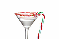 Macro clear candy cane martini Stock Photo