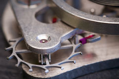 Macro of clock mechanism Royalty Free Stock Photography