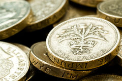 Macro Close Up of Assorted British Pound Coins Stock Images
