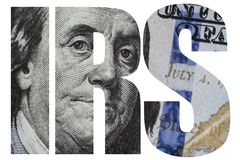 IRS, American Money Macro close up of Ben Franklin`s face on the US 100 dollar bill. Macro close up of Ben Franklin`s face on the US 100 dollar bill Stock Images