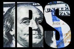IRS, American Money Macro close up of Ben Franklin`s face on the US 100 dollar bill Stock Images