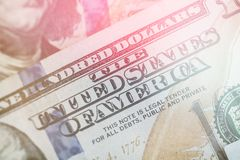 Light toning Macro close up of Ben Franklin`s face on the US 100 dollar bill. Macro close up of Ben Franklin`s face on the US 100 dollar bill Stock Image