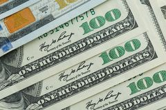 Macro close up of Ben Franklin`s face on the US 100 dollar. Bill Royalty Free Stock Photos