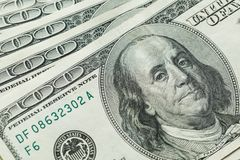Macro close up of Ben Franklin`s face on the US 100 dollar. Bill Royalty Free Stock Photography