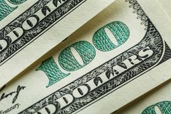 Macro close up of Ben Franklin`s face on the US 100 dollar Stock Photo