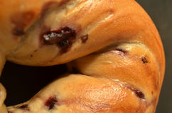 Macro close-up of blueberry bagel Stock Photos