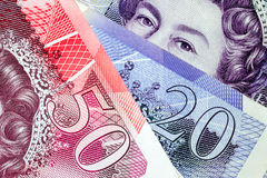 Macro Close Up of British Pound Notes Stock Photos