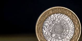 Macro Close Up of a British Two Pound Coin Royalty Free Stock Images