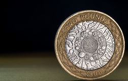 Macro Close Up of a British Two Pound Coin Royalty Free Stock Photos