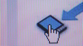 Macro Close Up of Cursor Hand Hovering over Tablet Icon stock footage