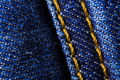 Macro close-up of denim jeans Royalty Free Stock Photo