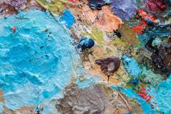 Macro close up of different color oil paint. colorful acrylic. modern art concept stock photos