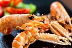Macro close up of giant crawfish platter. Royalty Free Stock Photography