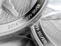 Macro close up of pure Silver Bullion coins royalty free stock photo