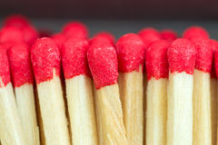 Macro close up of Red headed matches standing upright Stock Photo
