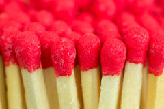 Macro close up of Red headed matches standing upright Stock Photography