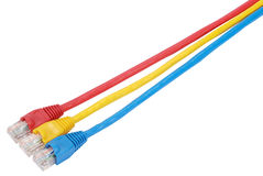 Macro close-up RJ45 network plugs Stock Photos