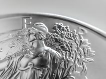 Macro Close up of a 999% Silver American Eagle Bullion Coin. As Money stock image
