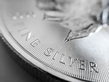 Macro Close up of a 999% Silver Canadian Maple Leaf Bullion Coin royalty free stock photos