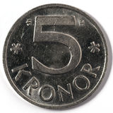 Macro close-up of Swedish five krona Royalty Free Stock Photos