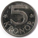 Macro close-up of Swedish five krona Royalty Free Stock Photos