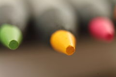Macro close up of tip point of color pencils Stock Photography