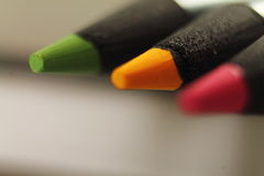 Macro close up of tip point of color pencils Royalty Free Stock Photography
