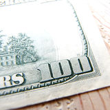 Macro close up of the US 100 dollar bill Royalty Free Stock Photos