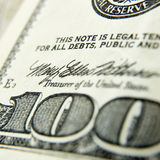 Macro close up of the US 100 dollar bill Royalty Free Stock Photo