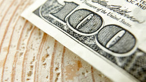 Macro close up of the US 100 dollar bill Stock Photography
