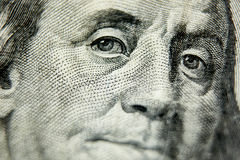 Macro close up of the US 100 dollar bill. Extreme macro. Shallow dof Stock Photos